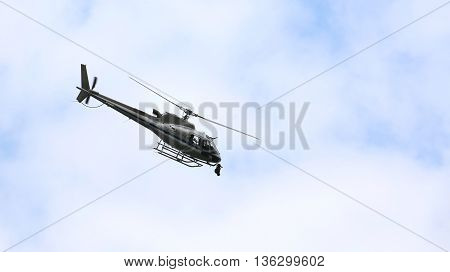 Helicopter Flying In The Sky With The Camera For Tv Top