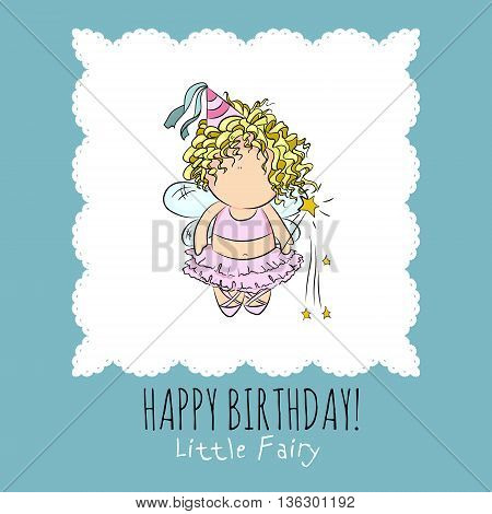 cute vector illustration of a fairy with magic stick. doodle. happy birthday card. romantic girly style. blue background