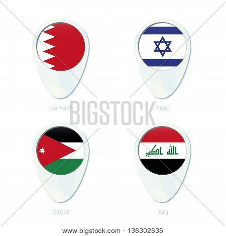 Bahrain, Israel, Jordan, Iraq Flag Location Map Pin Icon.