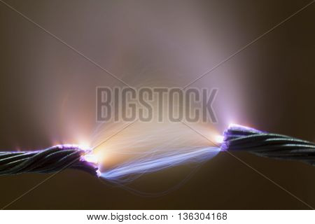 closeup shot of high voltage electrical spark