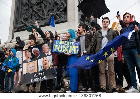 LONDON, UK - JUNE 28, 2016 British citizens protest in Trafalgar Square against the referendum results the UK leaving the EU.