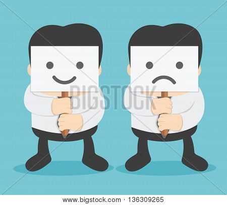 Young businessman hiding his face Illustration Concept