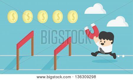 Concept Businessman Running Jumping Over Hurdle Collect money.Cartoon illustration.