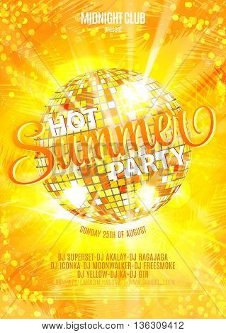 Summer Party Template, Banner or Flyer design with illustration of colorful bright orange yellow disco ball on glossy background. Hot summer party.