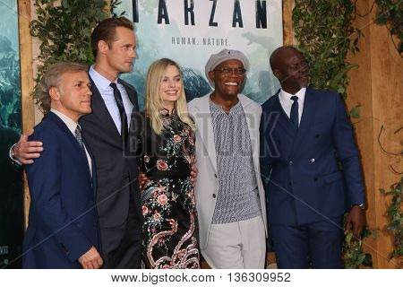 LOS ANGELES - JUN 27:  Christoph Waltz, Alexander Skarsgard, Margot Robbie, Samuel L. Jackson, Djimon Hounsou at The Legend Of Tarzan Premiere at the Dolby Theater on June 27, 2016 in Los Angeles, CA