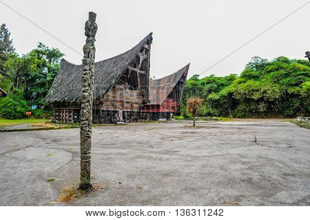 Ethnic traditional Batak Village in Toba Lake of Sumatra Indonesia. Batak stands for the ethnic people living in the northern part of Sumatra Island of Indonesia.