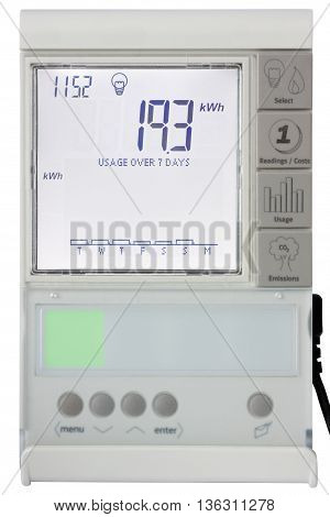Residential smart electricity meter Display isolated on white with clipping path