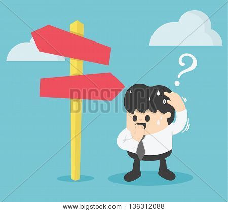Businessman Standing at the crossroad Illustration Concept