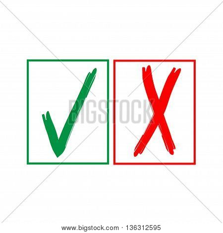 Tick and cross sign in color square isolated on white background. Green tick and red cross sign. Tick and cross symbol . White sticker vector illustration. Flat vector image. Vector illustration.
