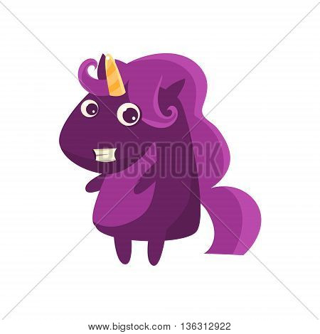 Purple Classy Lady Unicorn Flat Bright Color Childish Cartoon Design Vector Illustration Isolated On White Background