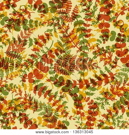 Seamless plant background. Endless autumn pattern with orange brown green twigs and leaves silhouette. Vector illustration