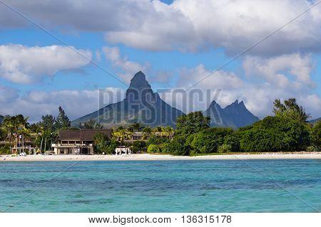 Beach Of Flic En Flac With Piton De La Petite Riviere Noire Mauritius