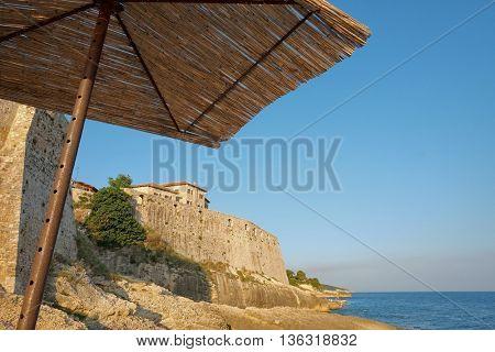 view Ulcinj Stari Grad fortified wall under sunshade, Montenegro