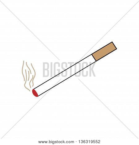 Smoke design element .You can smoke sign. Isolated on white background. Smoking area symbol marks. You can smoke sign picture. White sticker vector illustration. Flat vector image. Vector illustration