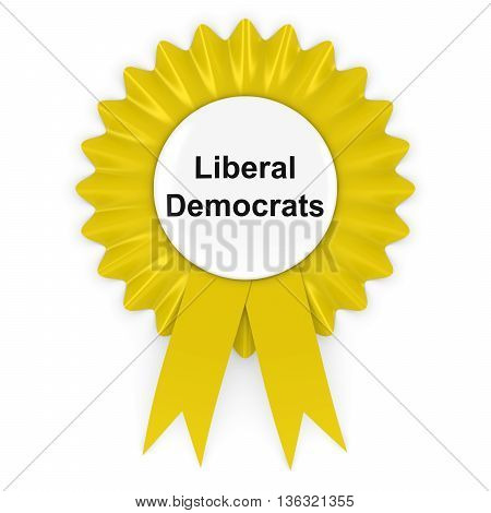Liberal Democrats Party Rosette Badge 3D Illustration