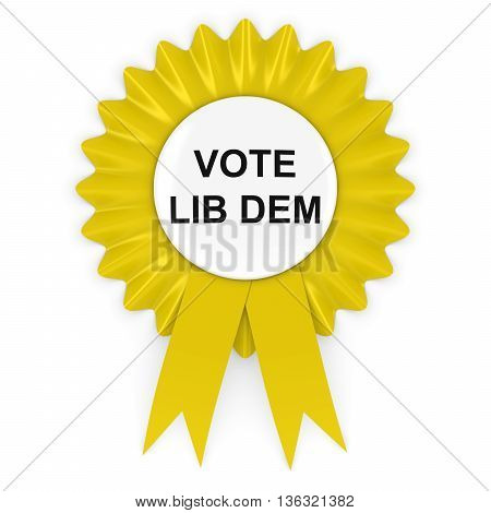 Vote Lib Dem Yellow Rosette 3D Illustration