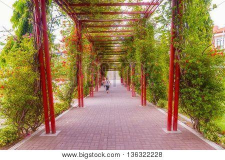 Panama City Panama - May 15 2016: Picturesque walkway in Mirador del Pacifico near Cosco Antiguo in Panama City