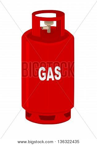 Red propane gas cylinder - vector illustration.