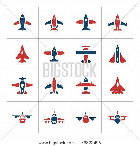 Set color icons of planes isolated on white. Vector illustration