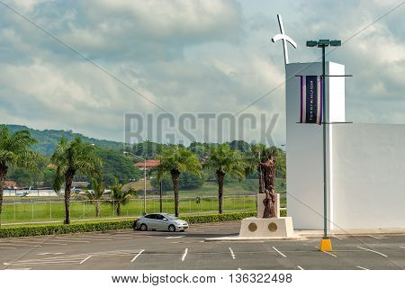 Panama City Panama - May 15 2016: Monument to Pope John Paul II in front of Albrook Mall in Panama City