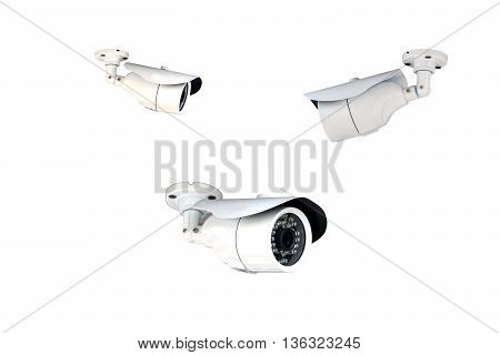 Group of security cameras (CCTV) or surveillance camera isolated on white background.
