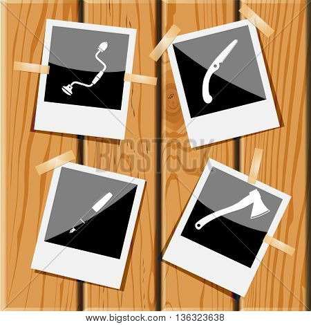 4 images: hand drill, hand saw, ink pen, axe. Angularly set. Photo frames films on wooden desk. Vector icons.