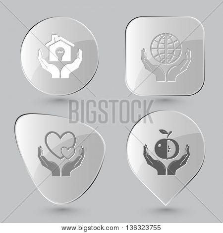 4 images: economy in hands, protection world, love, apple. In hands set. Glass buttons on gray background. Vector icons.