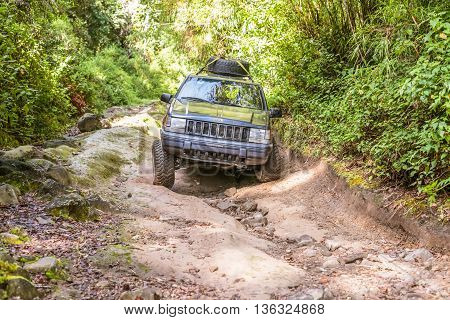Car On The Trail To Volcano Baru In Panama