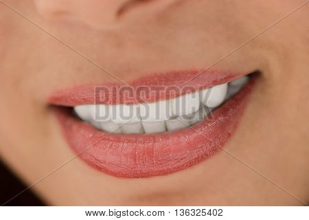 Close up of the women smile with white teeth