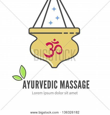 Ayurveda shirodhara treatment logo, vector illustration. Ayurveda massage with shirodhara symbol. Alternative treatment