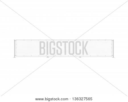 Wide banner mockup stand isolated on fence 3d illustration. Long blank rectangular placard plank display front. Outer advertising campaign bill. Outdoor empty canvas presentation. Banner frame design element.