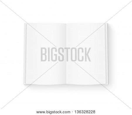 Open blank book mock up isolated on white 3d illustration. White cover diary mockup on table presentation. Catalog guide template layout. Redactor text makeup. Magazine opened in middle. Empty notebook booklet design