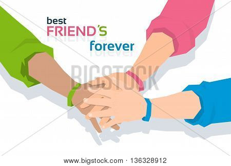 Pile Hand Stack On Each Other Holding Together Best Friends Forever Friendship Day Banner Flat Vector Illustration