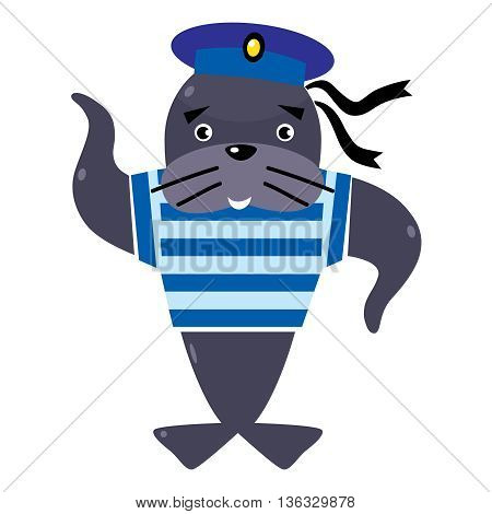 Funny jolly seal-sailor in vest and sailor hat. Children vector illustration