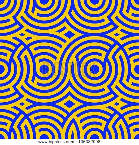 Two-color spiral patterns. Seamless pattern. Vector background. Modern pattern. Hypnotic blue and yellow line.