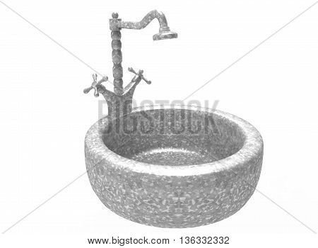 3d illustration of sink with tap. icon for game web. white background isolated.