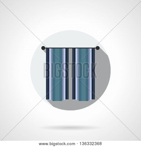 Blue cotton or linen curtains hanging on cornice. Closed blinds. Home interior ideas, textile decoration elements. Flat color style vector icon.