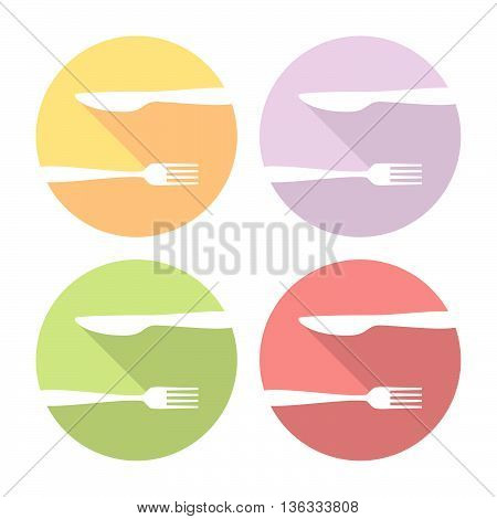Fork And Knife Logo Flat Icons Set