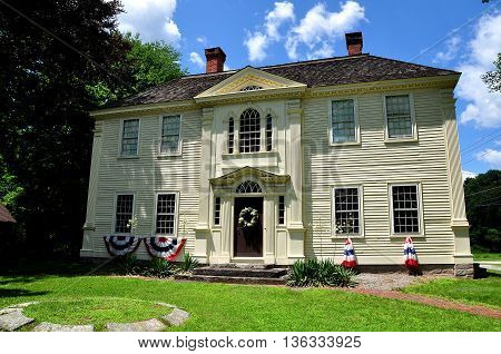 Canterbury Connecticut - July 11 2013: Georgian 18th century Prudence Crandall House where a school for African-American girls was established in 1833