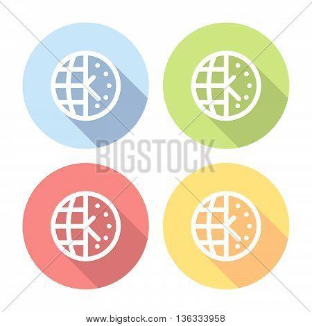 World Time Zone Flat Icons Set