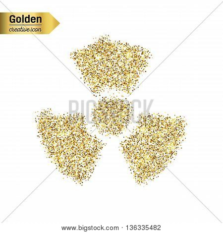Gold glitter vector icon of radioactively isolated on background. Art creative concept illustration for web, glow light confetti, bright sequins, sparkle tinsel, abstract bling, shimmer dust, foil.