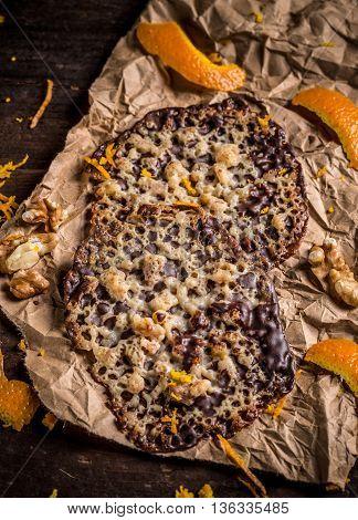 Homemade Florentine cookies traditional almond cookies, studio shot
