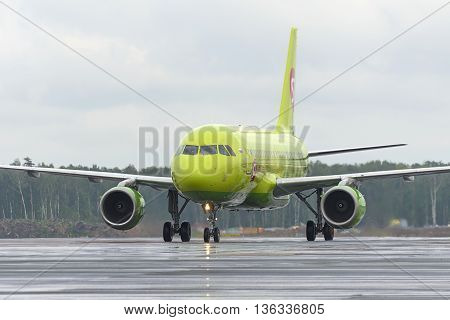 Plane Makes Taxiing On Taxiway Domodedovo International Airport