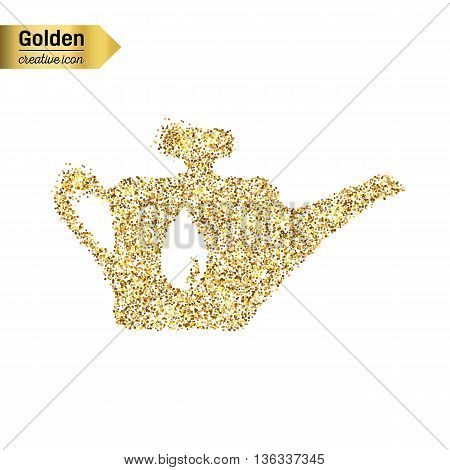 Gold glitter vector icon of oil lubricator isolated on background. Art creative concept illustration for web, glow light confetti, bright sequins, sparkle tinsel, bling logo, shimmer dust, foil.
