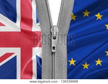 Brexit. 3D illustration of Zipper separates the flags of the EU and the UK. Exit of Great Britain from the European Union - concept.