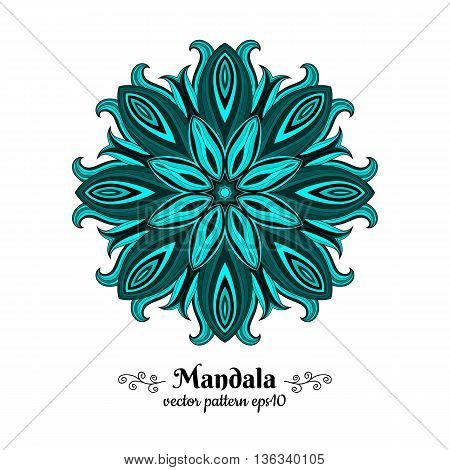 Blue oriental mandala. Circle pattern.  Azure, cerulean, aquamarine, turquoise, cyan pattern with abstract flower. Indian, Arabic, Islamic motif. Vector illustration.