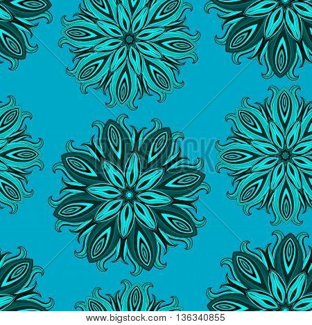 Blue oriental mandala seamless pattern. Azure, cerulean, aquamarine, turquoise, cyan wallpaper with abstract flowers. Indian, Arabic, Islam motif. Vector illustration.