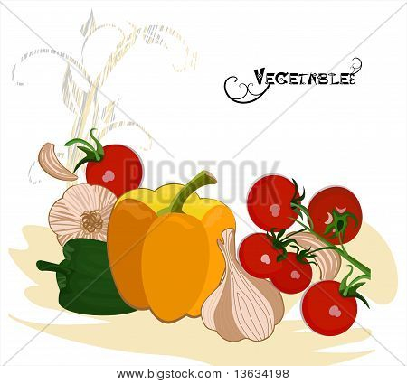 Vegetables in retro style