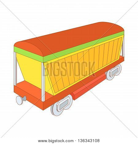 Covered freight wagon icon in cartoon style on a white background