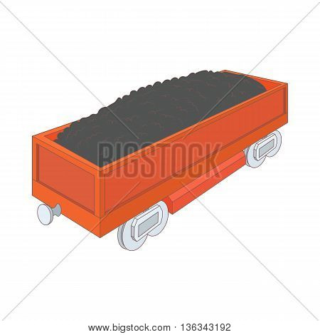 Wagon with coal icon in cartoon style on a white background